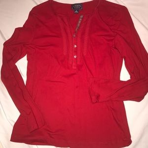 Chaps Women's Red Long Sleeve Tee Sz M